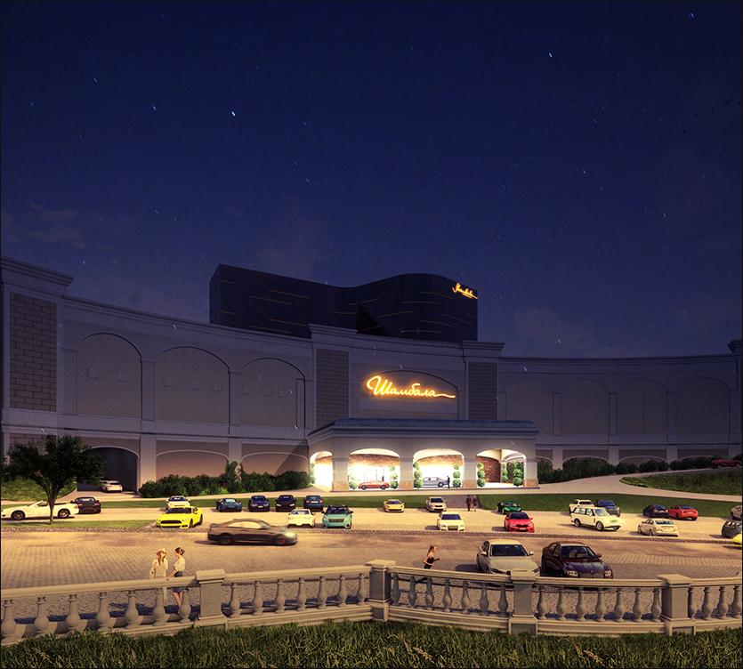 фасадная подсветка казино Шамбала